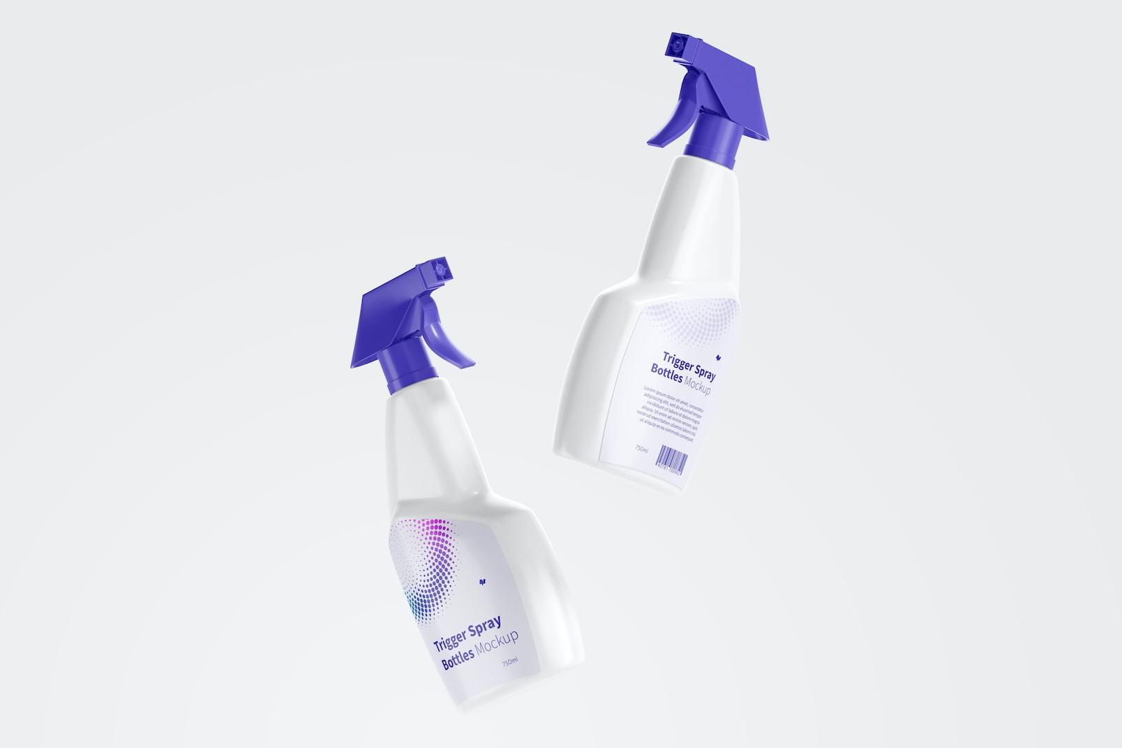 Trigger Spray Bottles Mockup, Floating