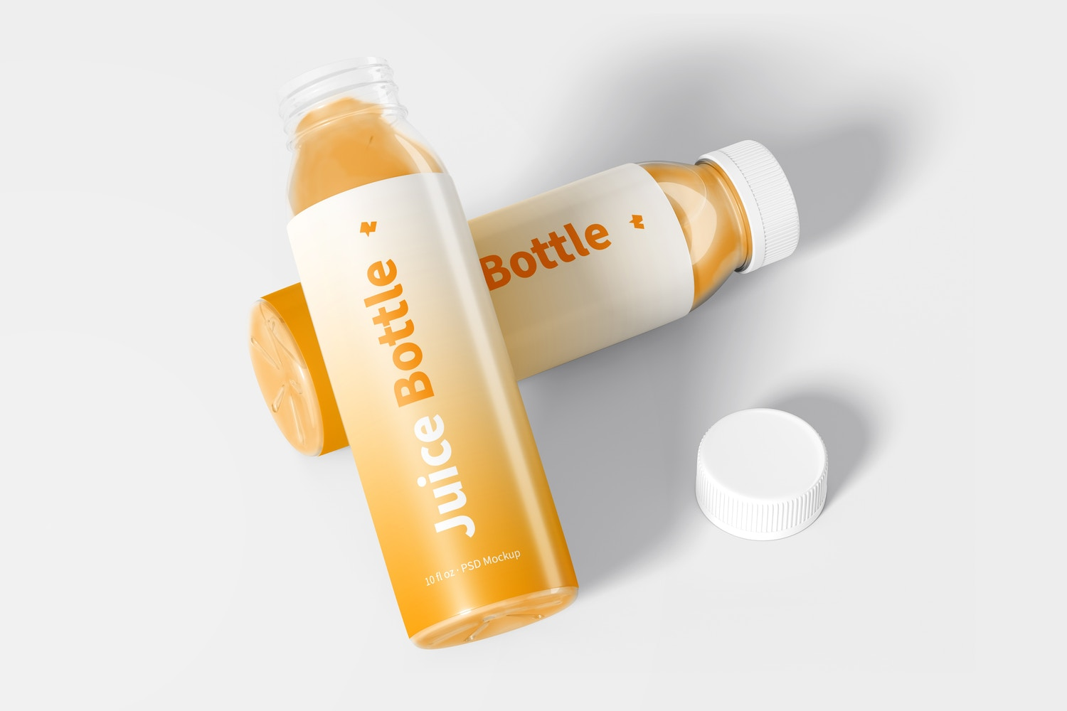 10 oz Clear PET Juice Bottles Mockup, Opened and Closed