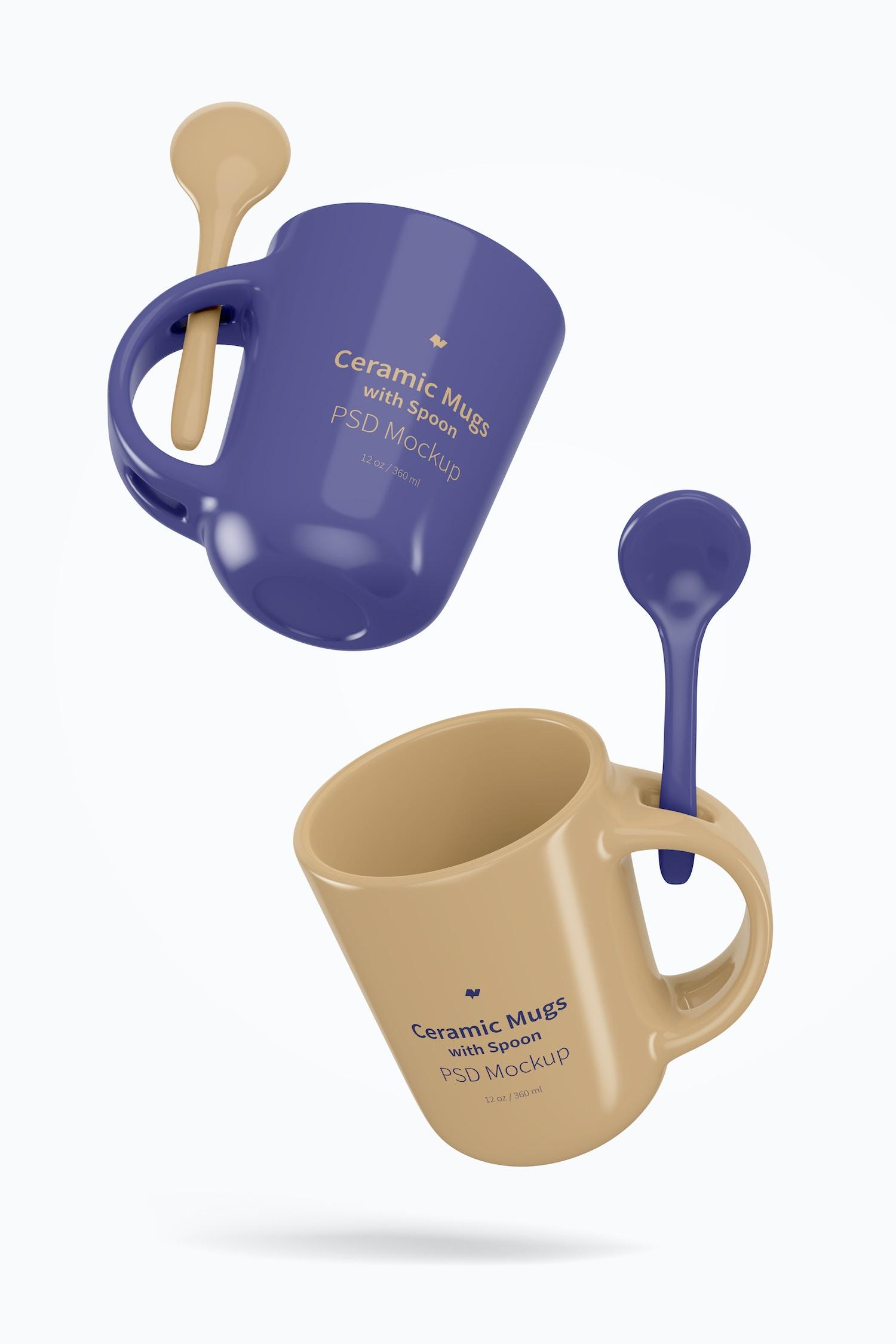 12 oz Ceramic Mug with Spoon Mockup, Floating