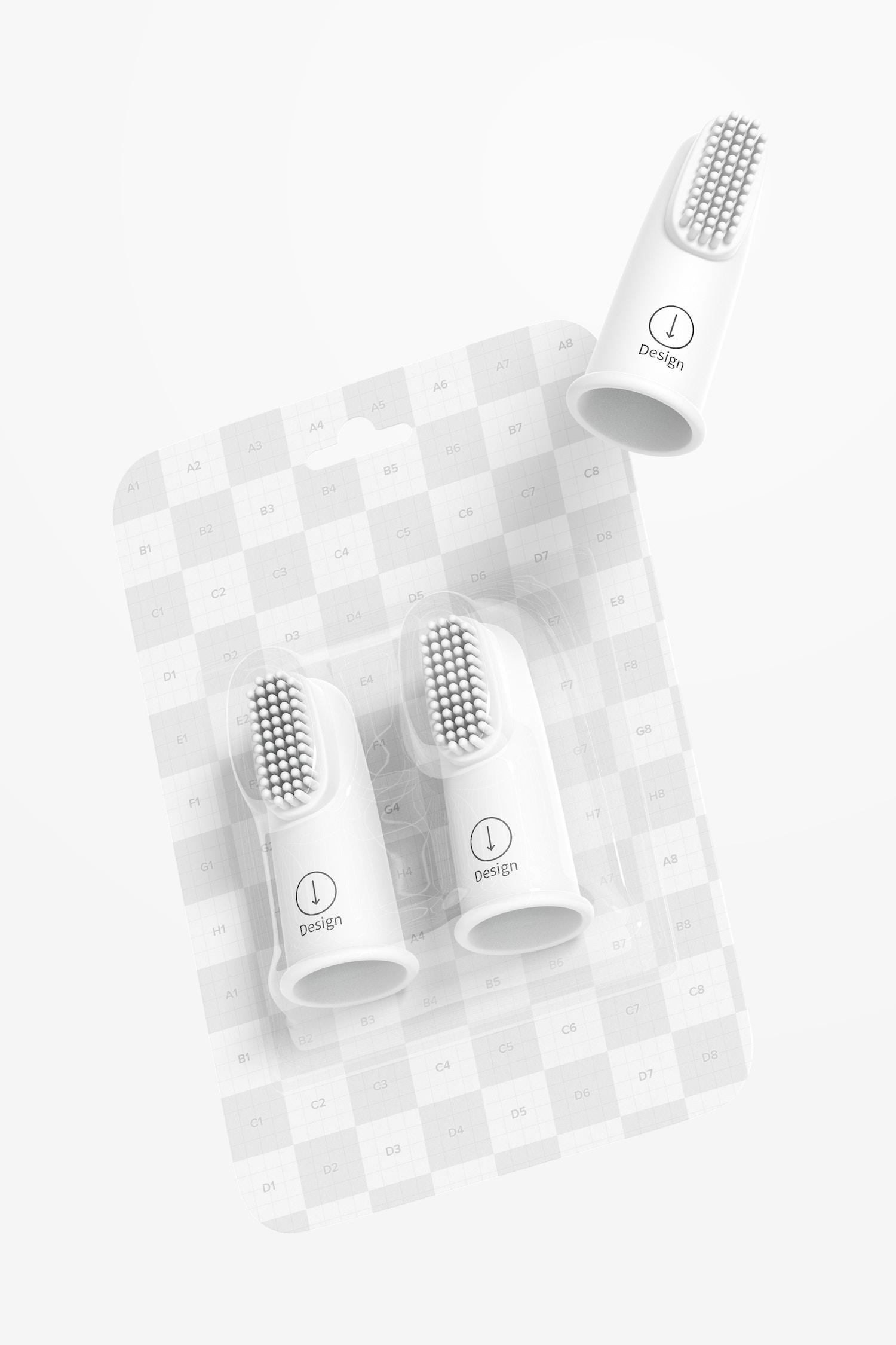 Baby Toothbrush Blister Mockup, Floating