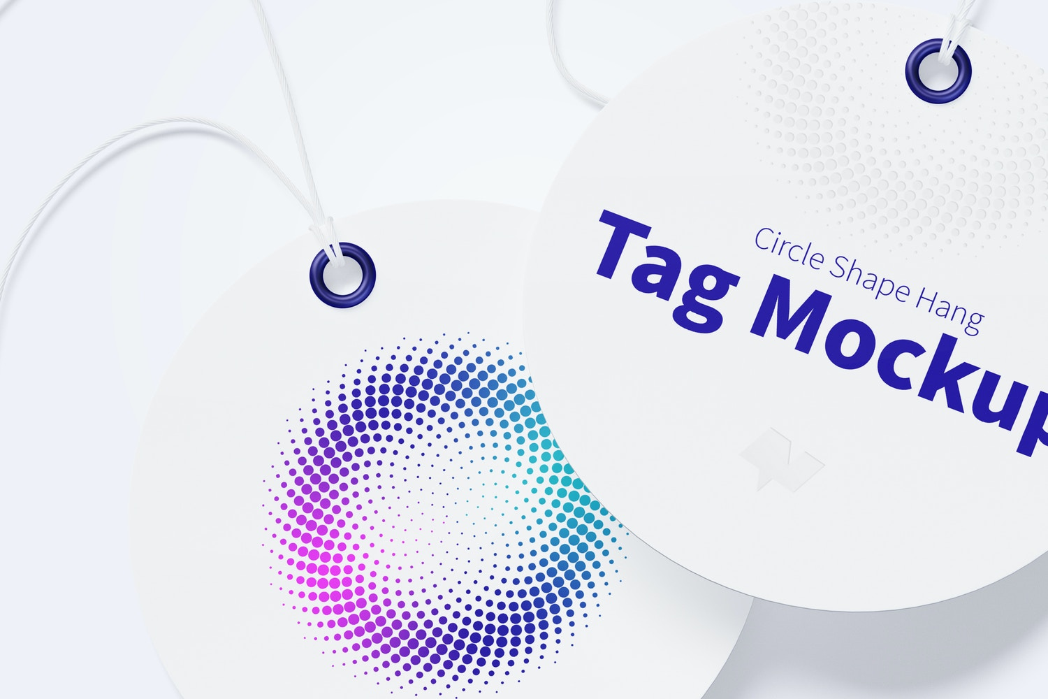 Circle Shape Hang Tags Mockup with String, Two-sided