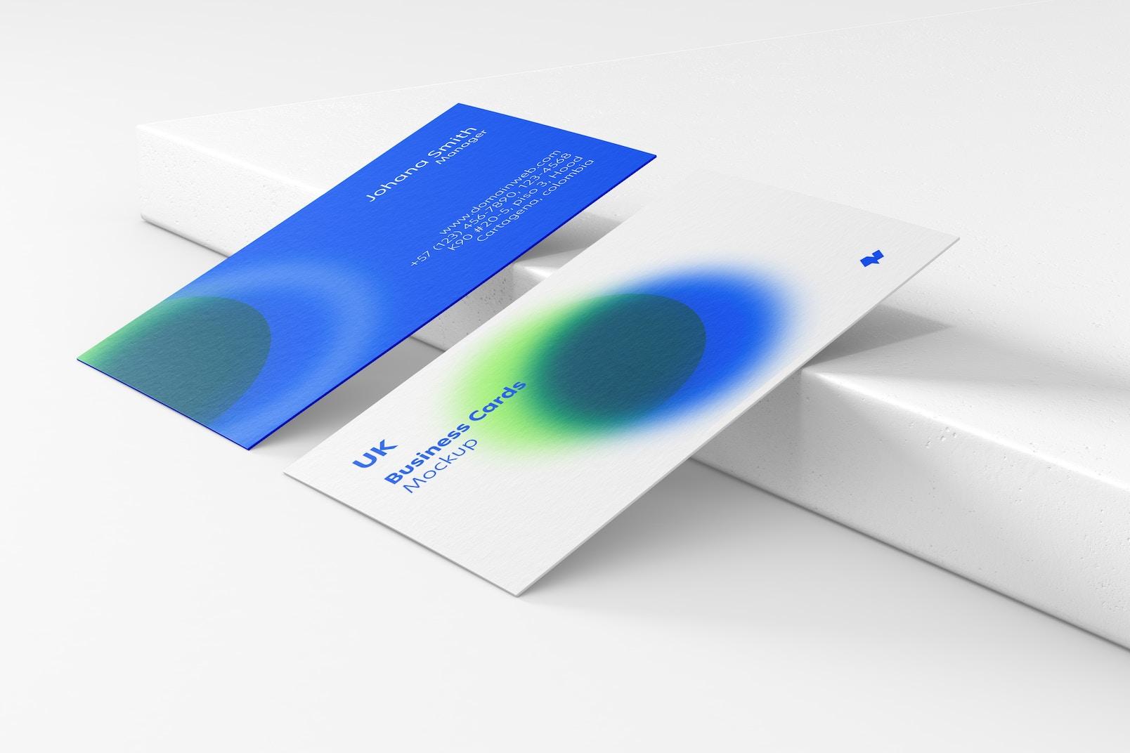 UK Landscape Business Cards Mockup, Leaned