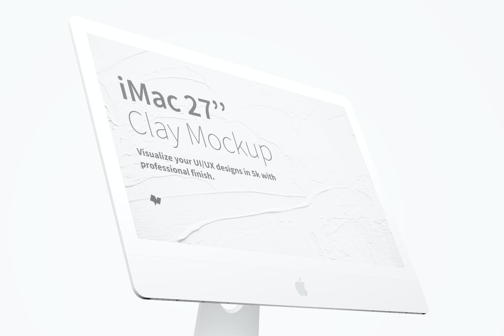 """Clay iMac 27"""" Mockup, Display Close Up"""