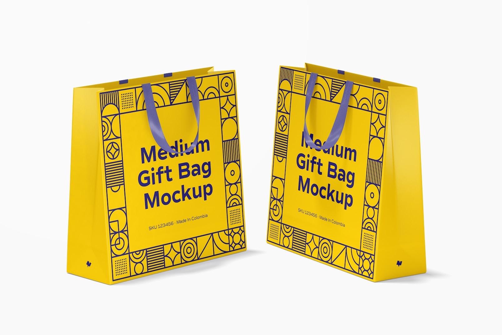 Medium Gift Bags with Ribbon Handle Mockup, Perspective