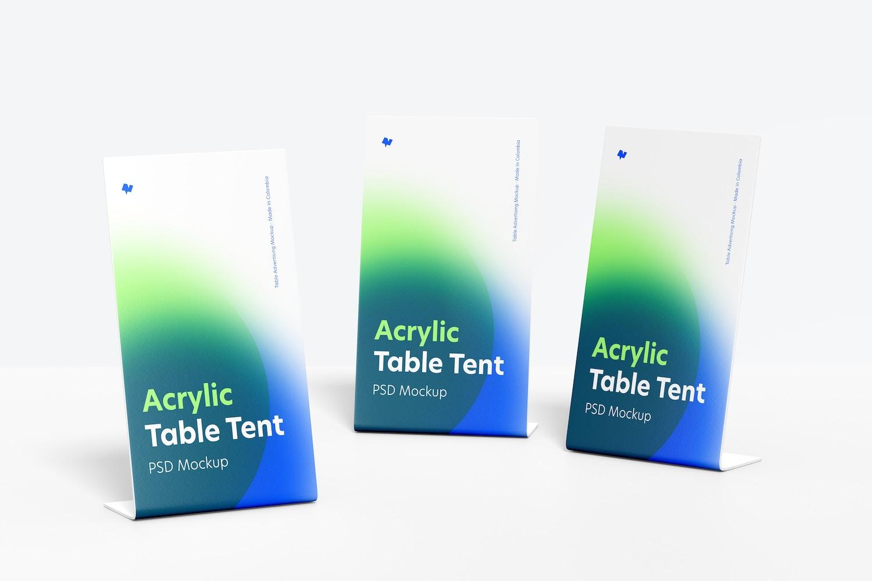 Acrylic Table Tents Set Mockup