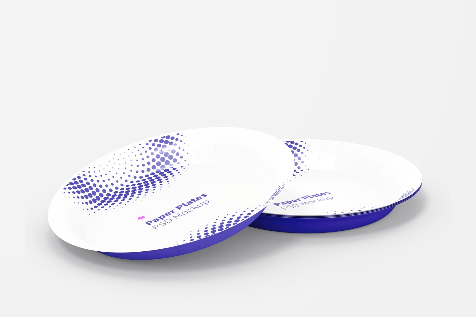 Paper Plates Mockup, Perspective View