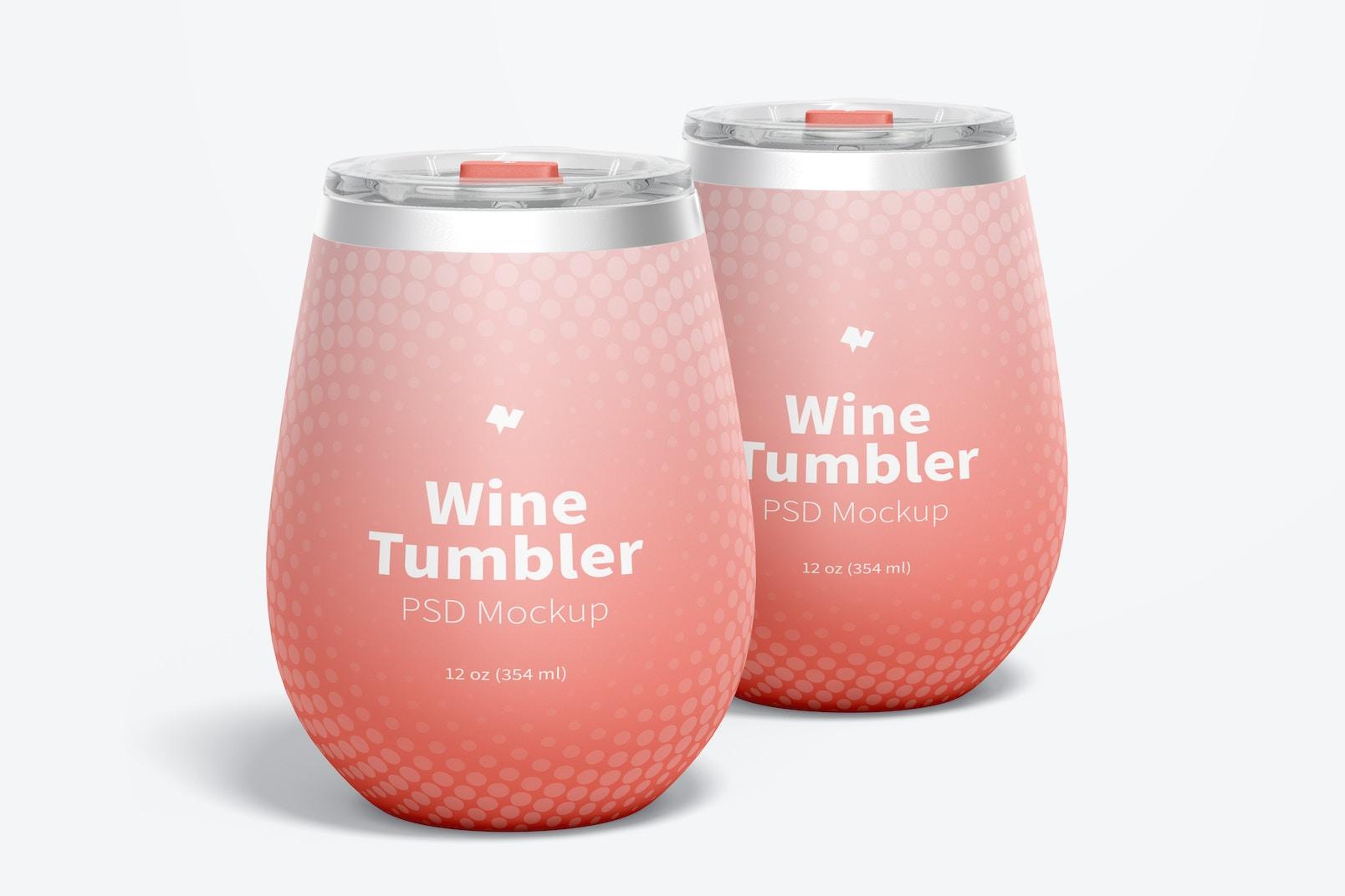 12 oz Wine Tumblers Mockup, Front View