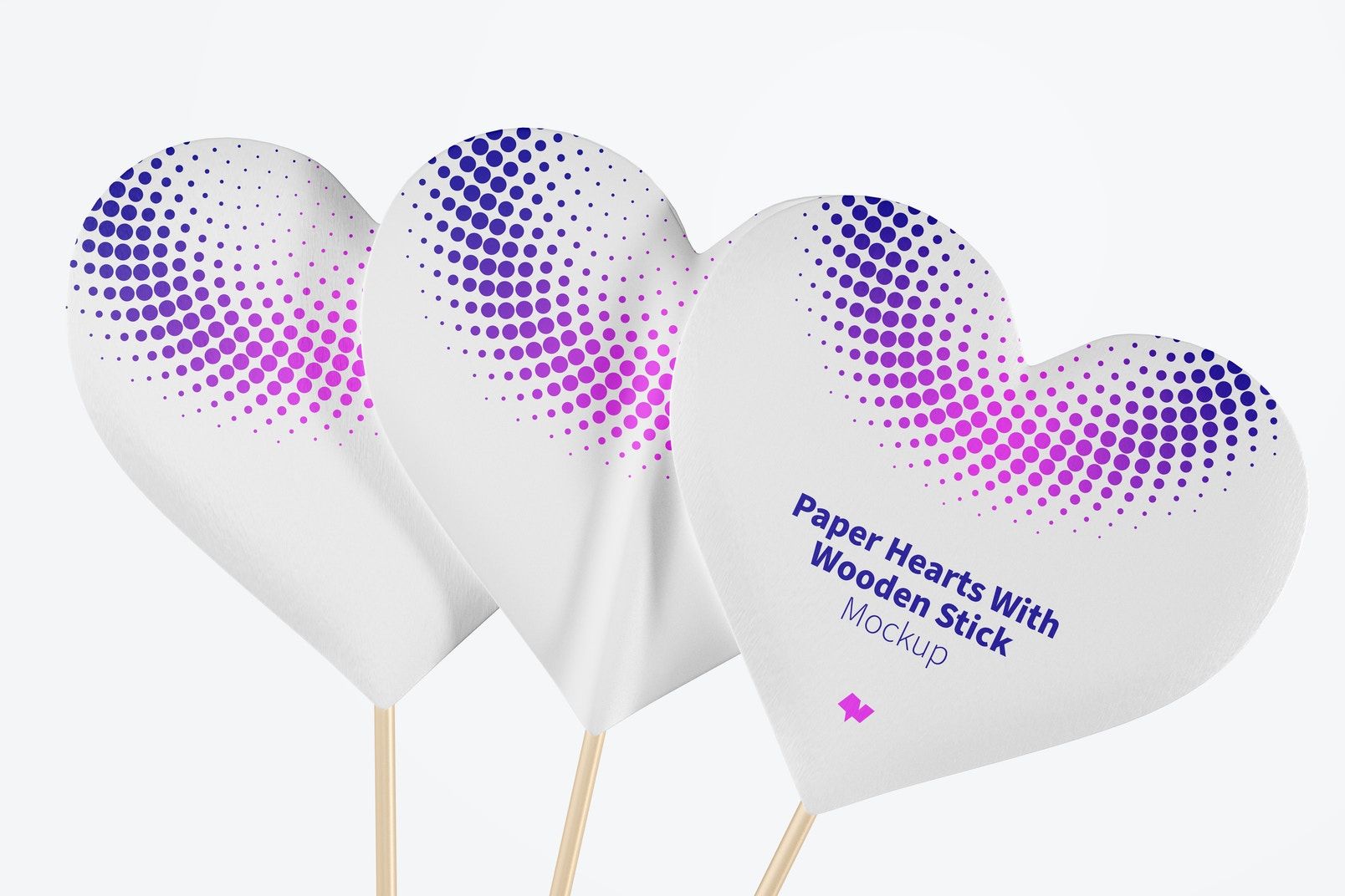 Paper Hearts With Wooden Stick Mockup, Close Up