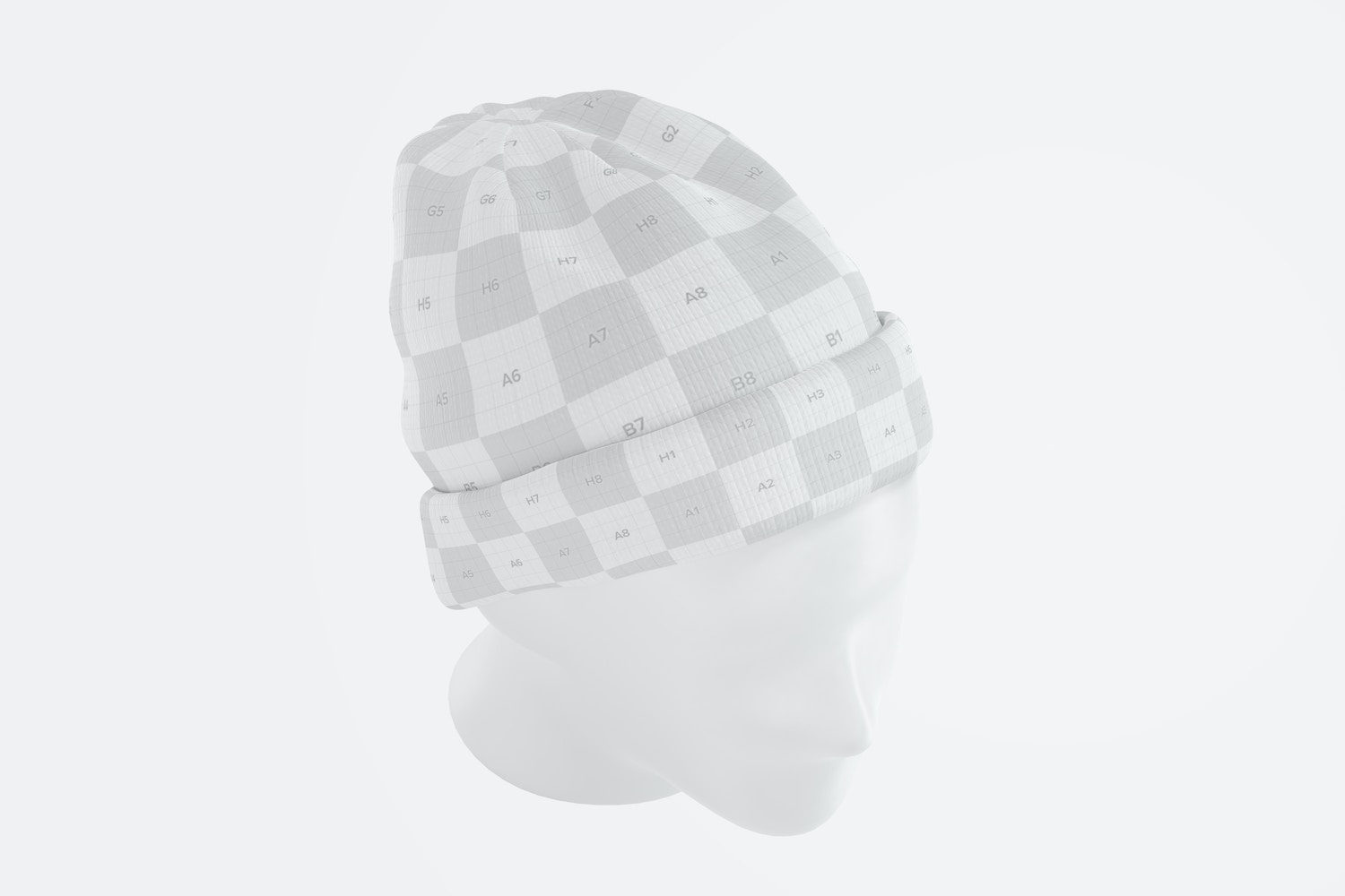 Beanie with Head Mockup, Perspective Top View