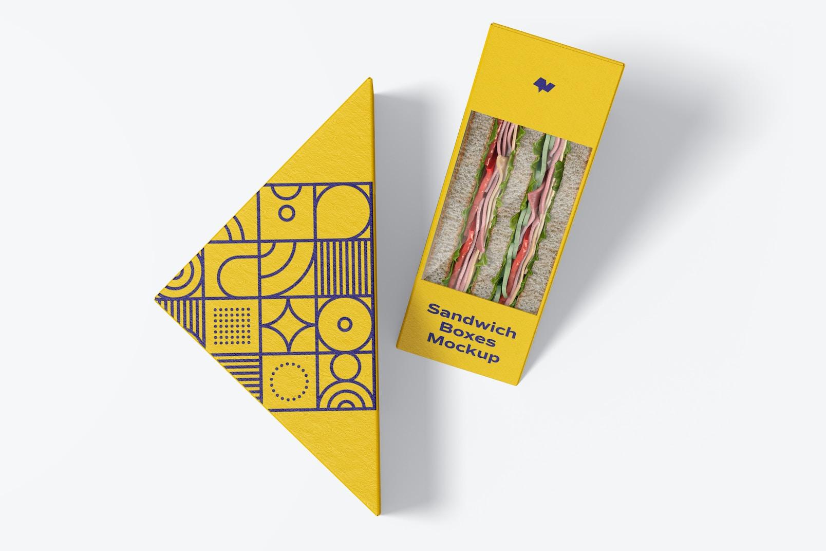 Sandwich Boxes Mockup, Top View