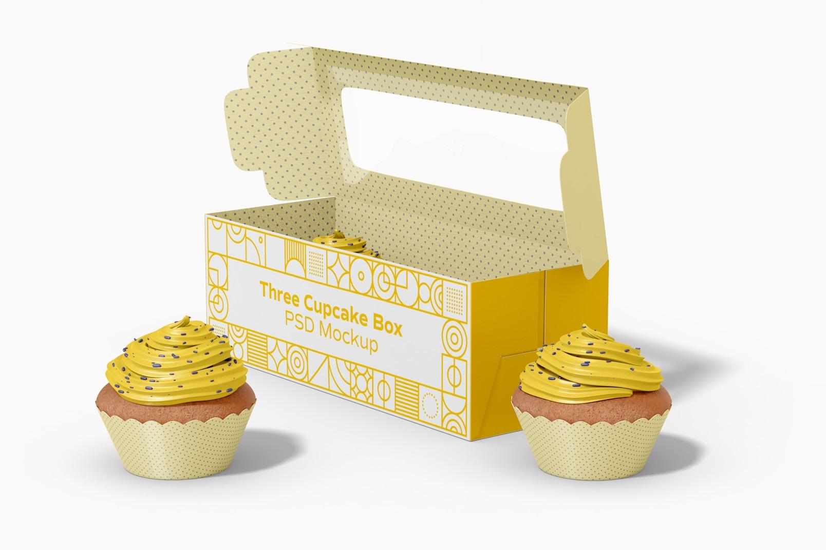 Three Cupcake Box Mockup, Right View