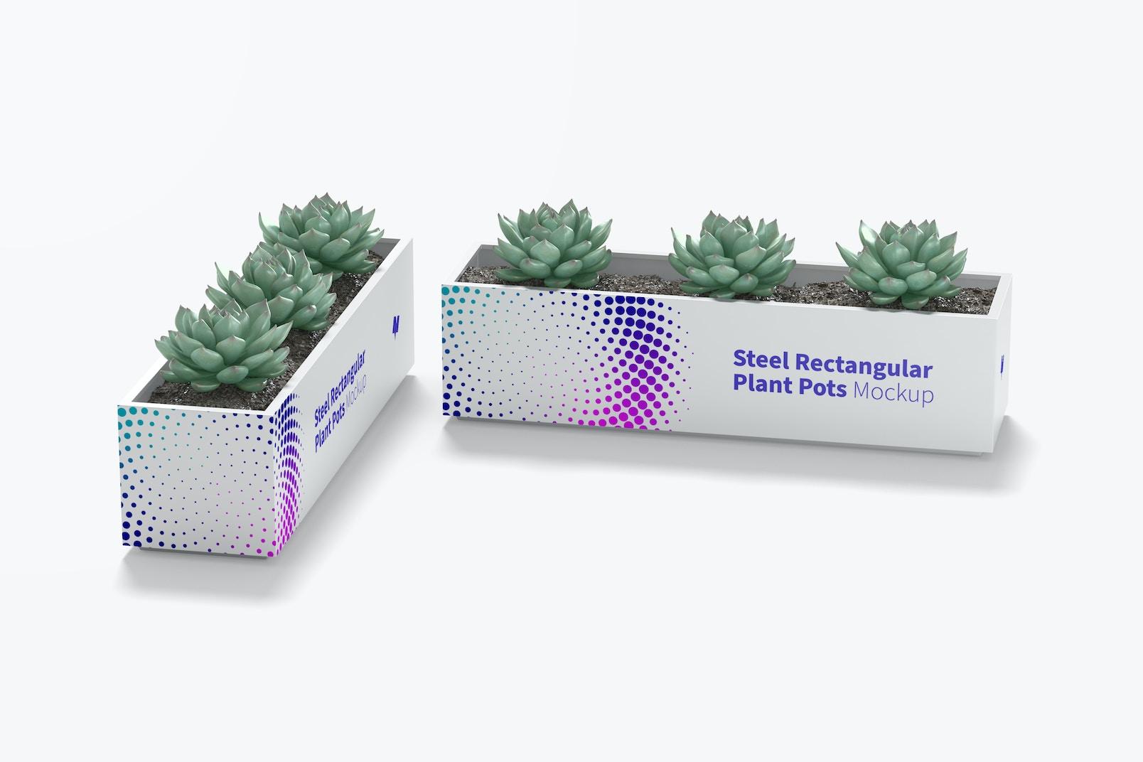 Steel Rectangular Plant Pots Mockup