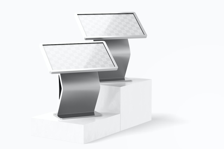 """55"""" Floor Stand Digital on Podiums Mockup"""