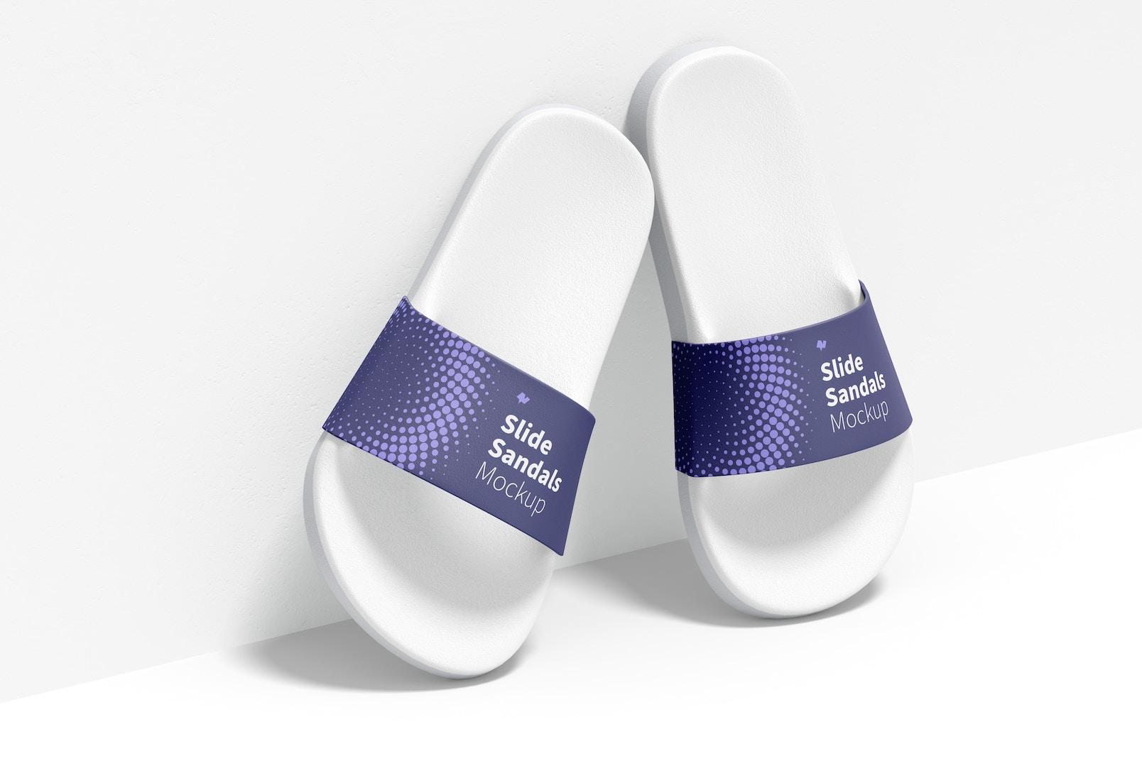 Slide Sandals Mockup, Leaned