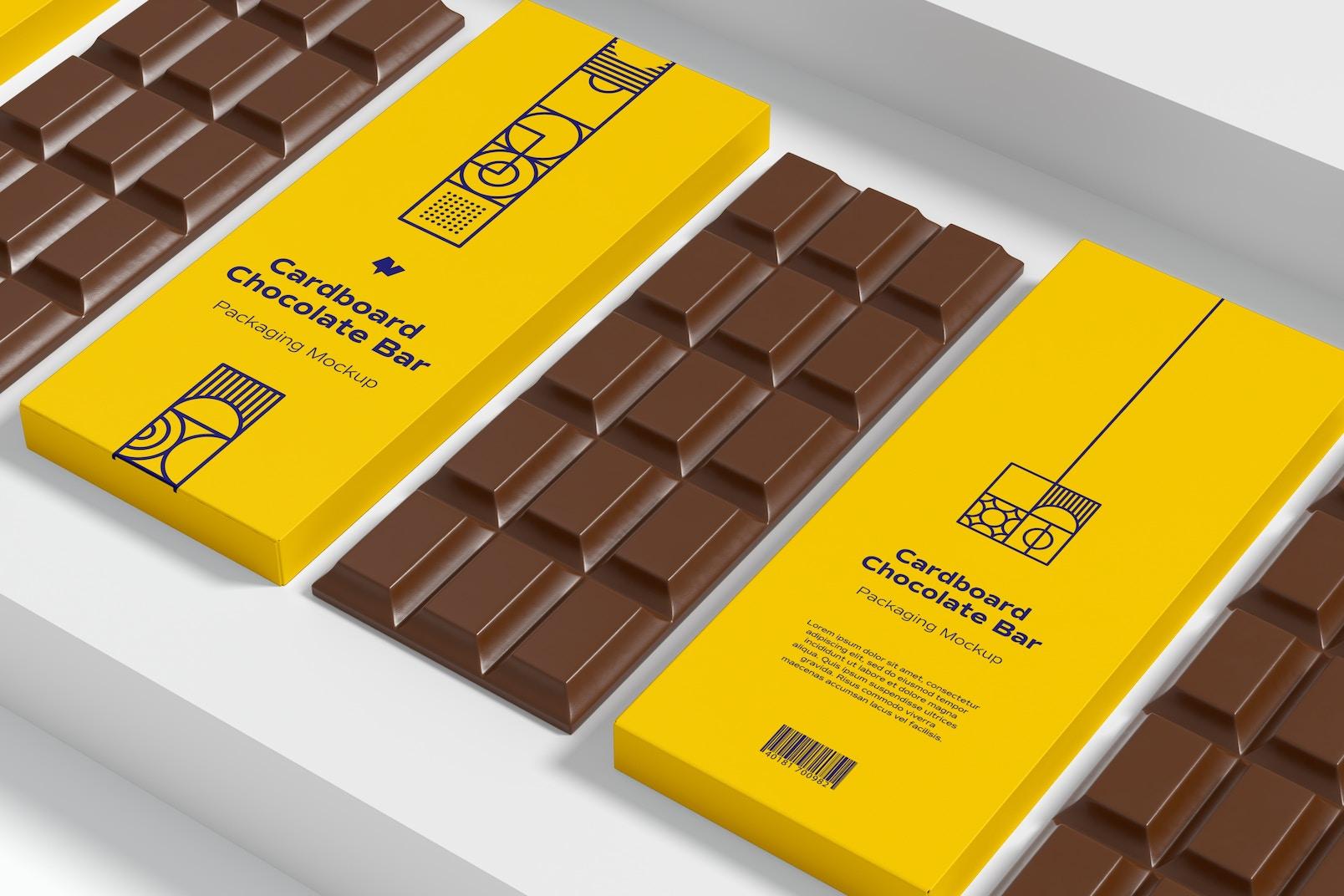 Cardboard Chocolate Bars Packaging Mockup
