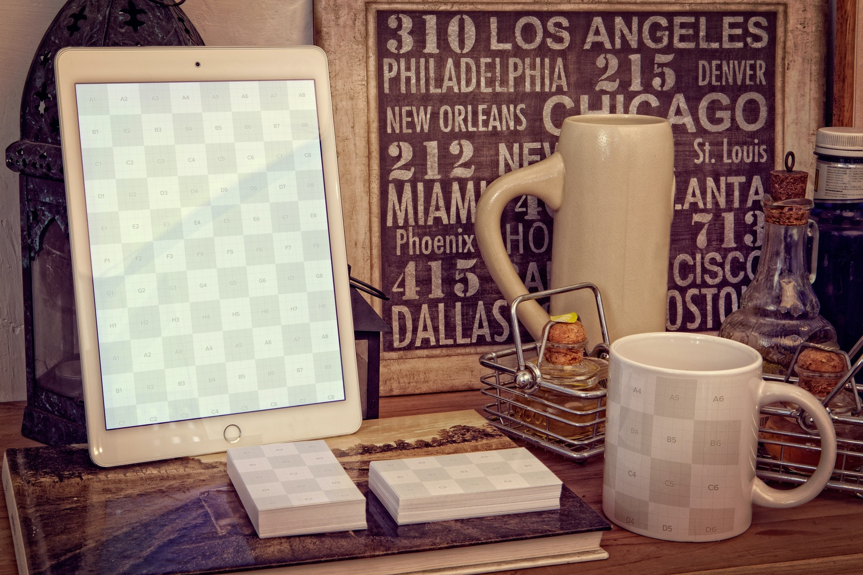 iPad Air 2, Business Cards, Mug Mockup