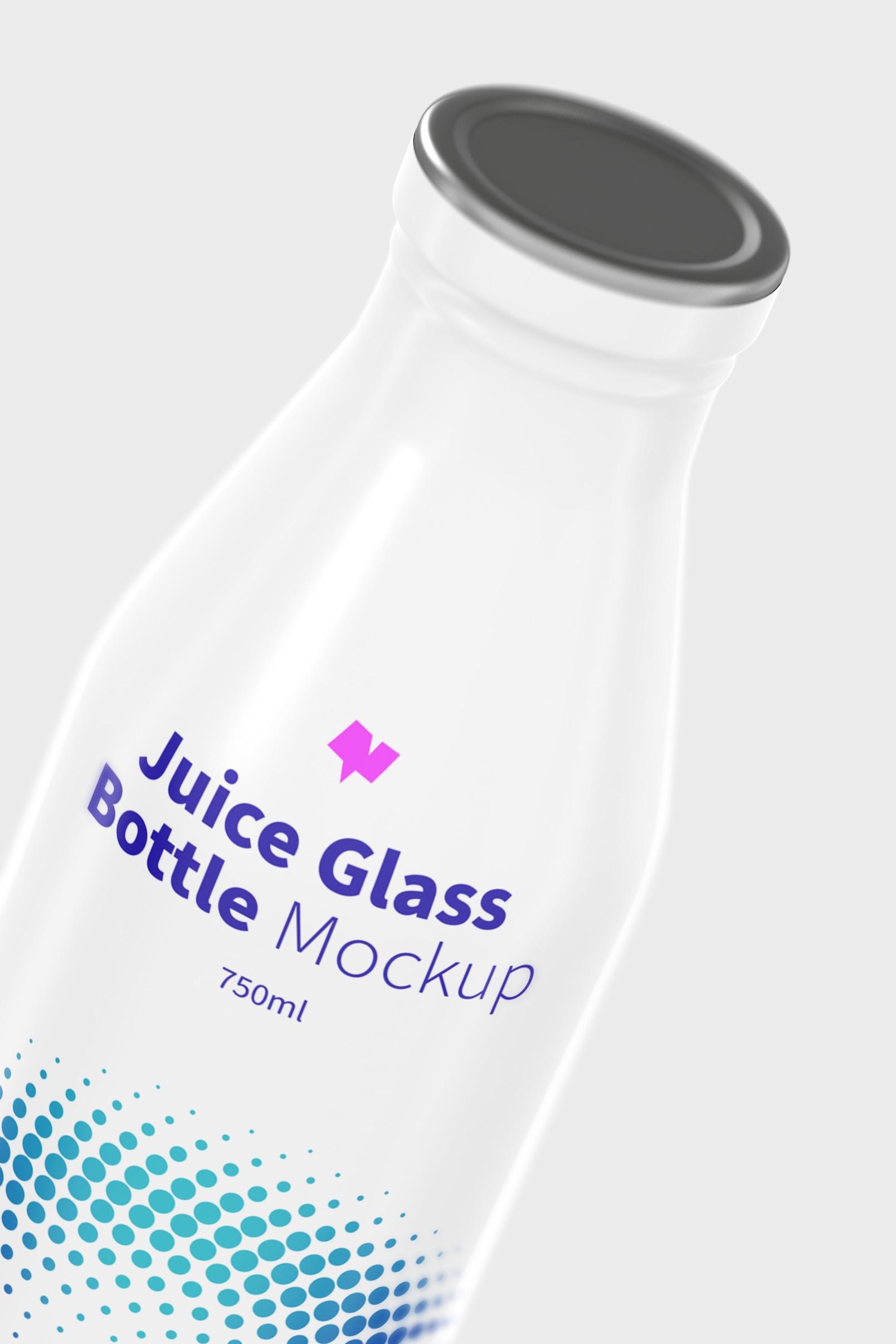 Juice Glass Bottle Mockup, Close-Up