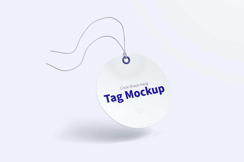 Circle Shape Hang Tag Mockup with String, Falling