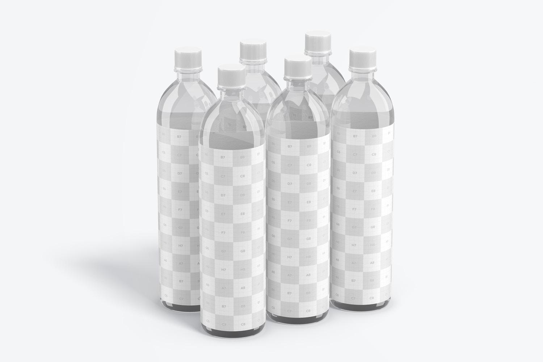 1L Sleek Clear Water Bottle Mockup, Perspective