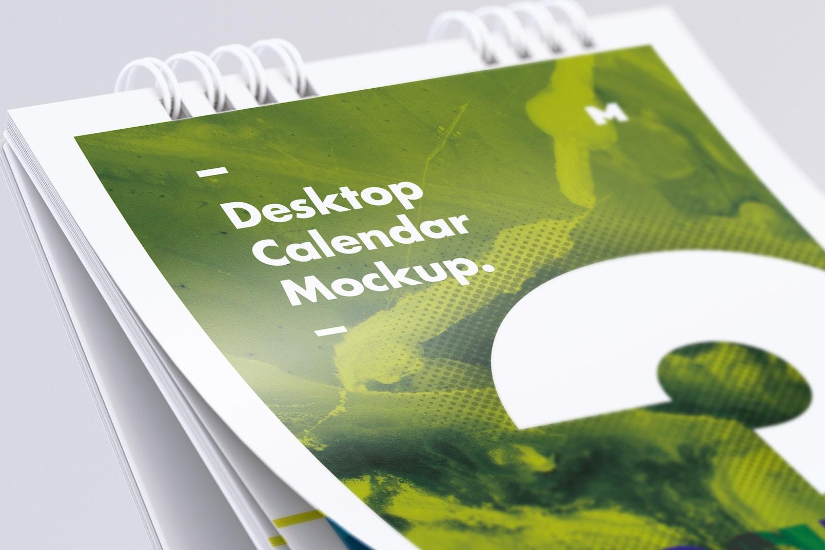 Desktop Portrait Calendar Mockup Close Up View
