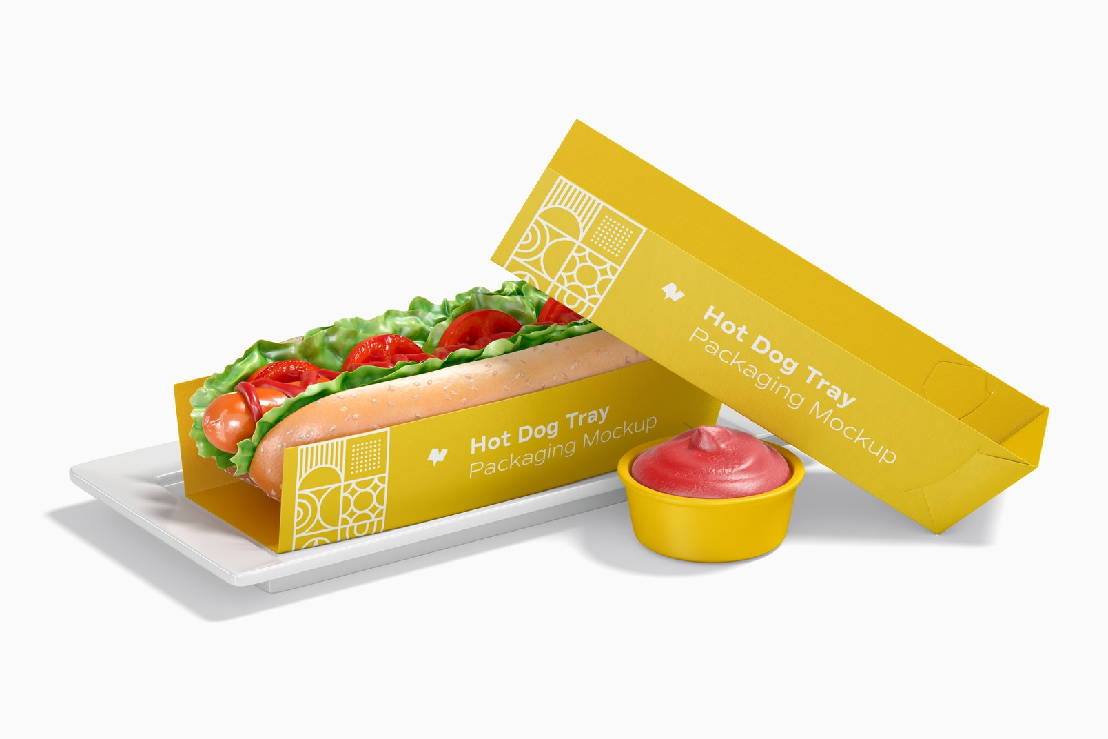 Hot Dog Tray Packaging Mockup, Front View
