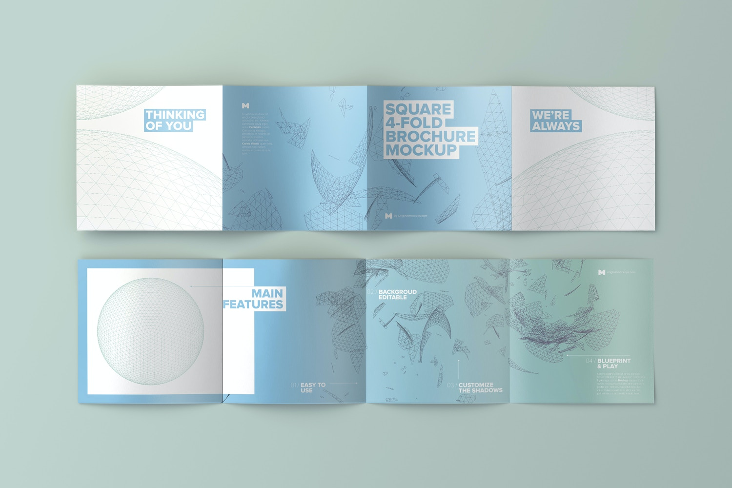 Spread Square 4-Fold Brochure Outside and Inside Mockup 02 - Custom Background