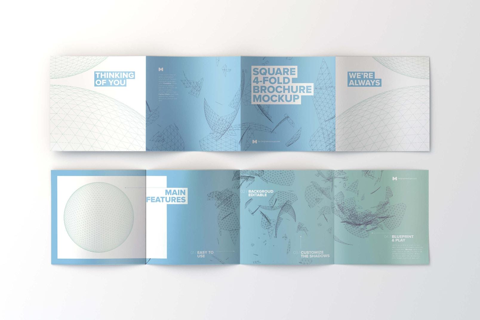 Spread Square 4-Fold Brochure Outside and Inside Mockup 02