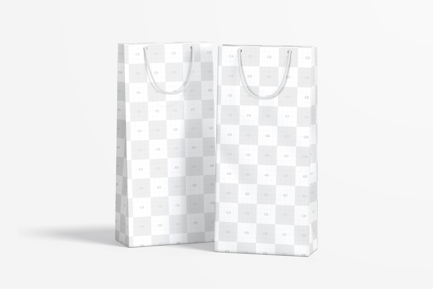 Thin Paper Gift Bags With Rope Handle Mockup