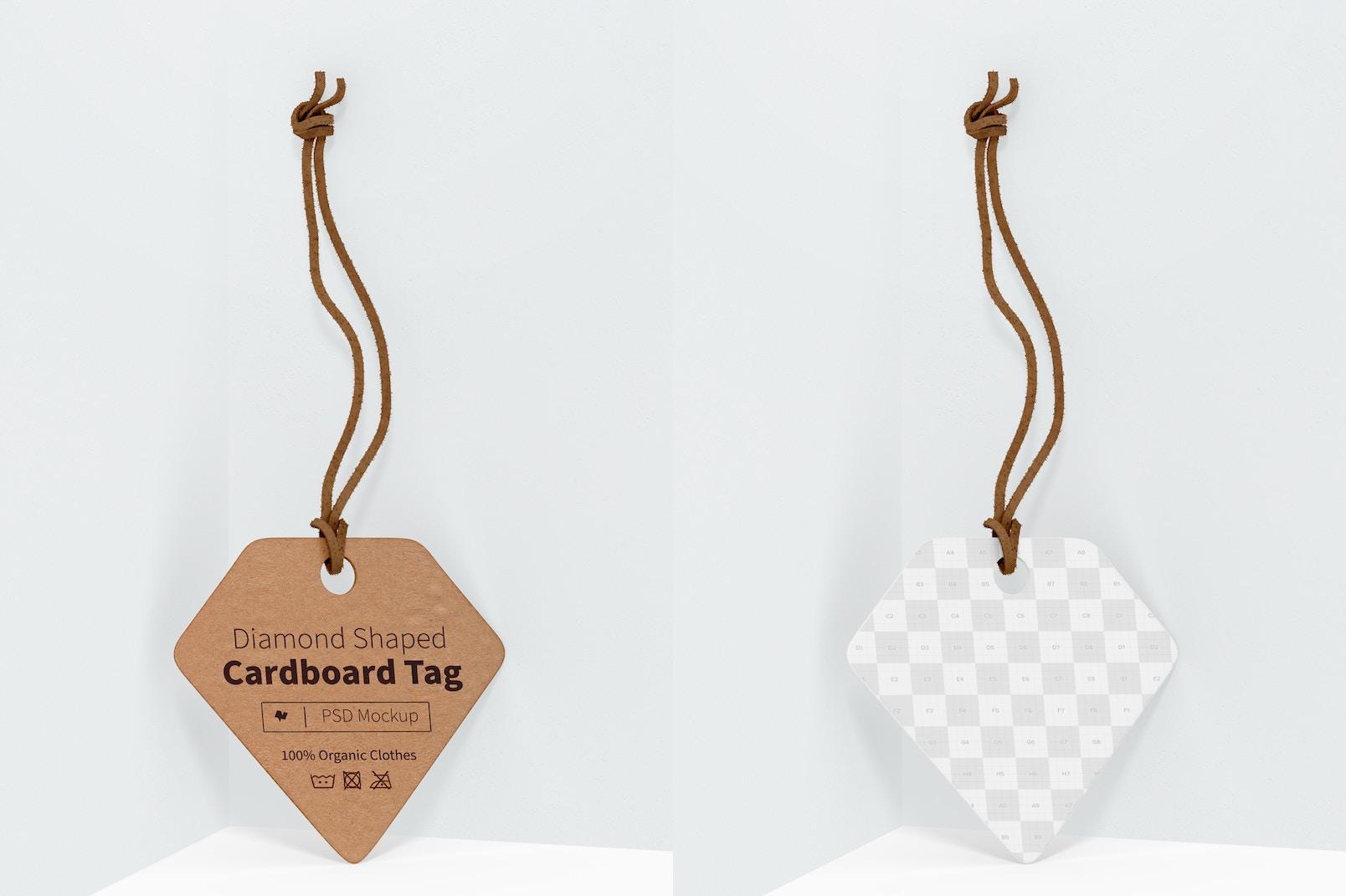 Diamond Shaped Cardboard Tag Mockup, Leaned