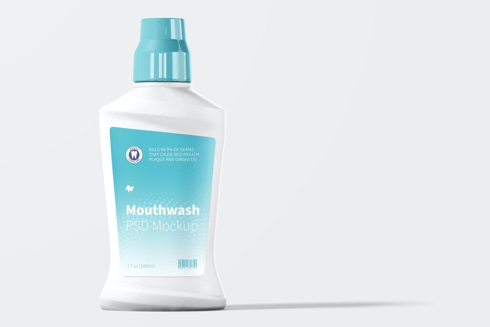 Mouthwash Bottle Mockup, Front View