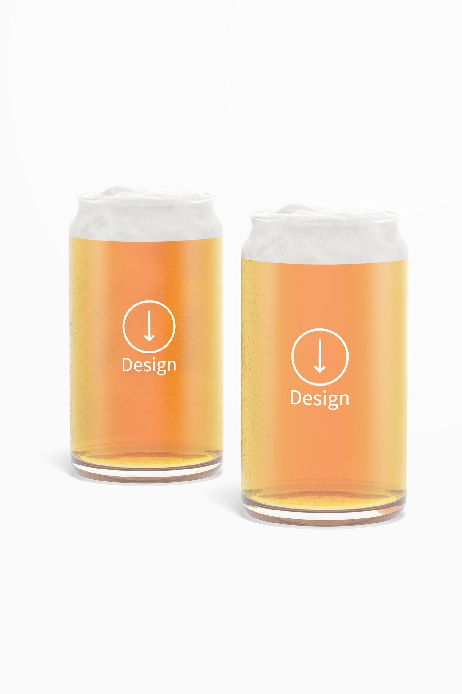 16 oz Glass Beer Cups Mockup