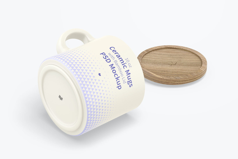 10 oz Ceramic Mugs with Bamboo Lid Mockup, Isometric View