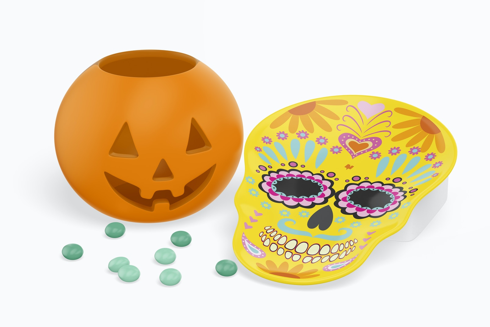 Skull Shaped Plate Mockup with Candies