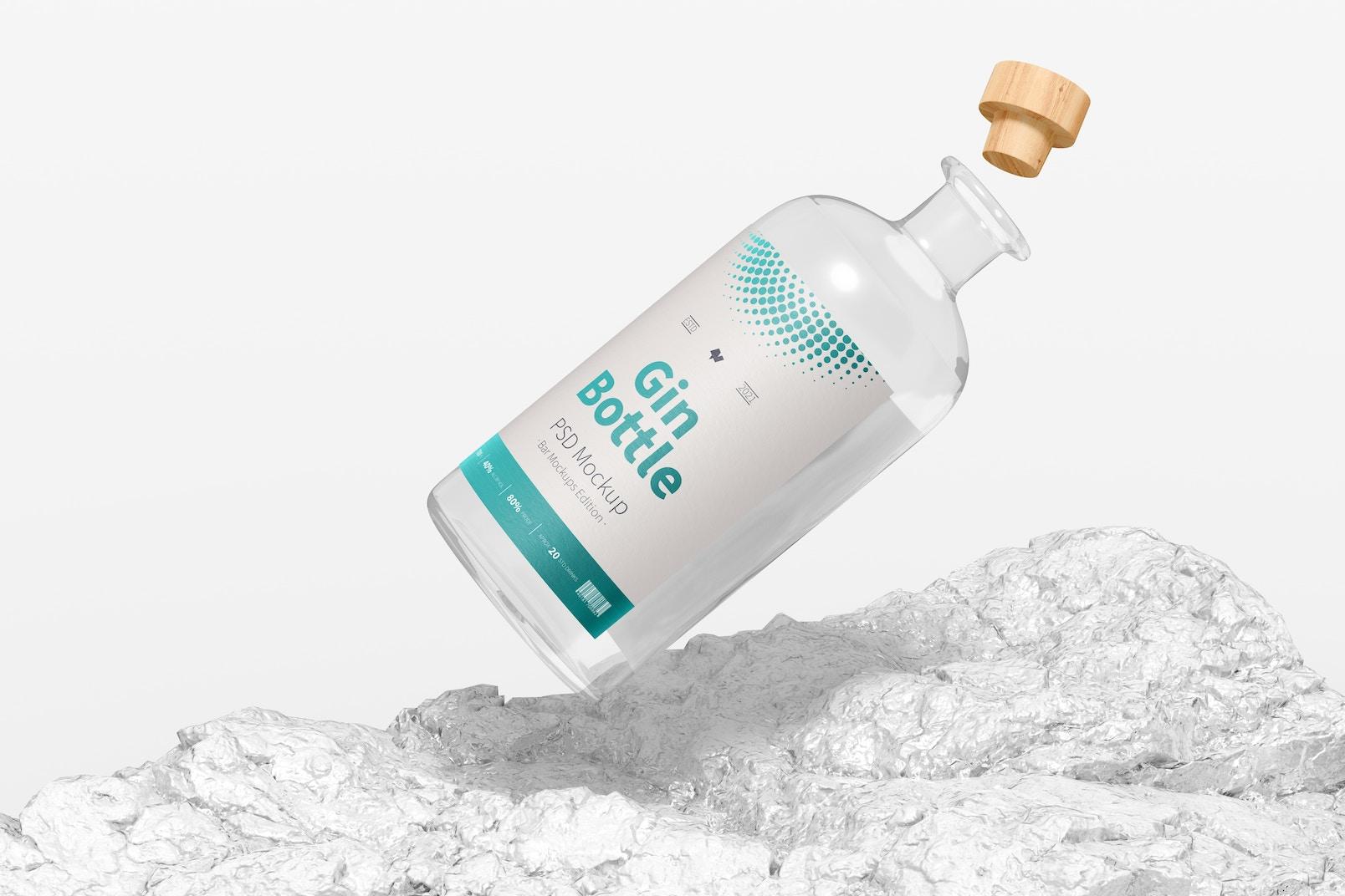 Gin Bottle Mockup, Falling