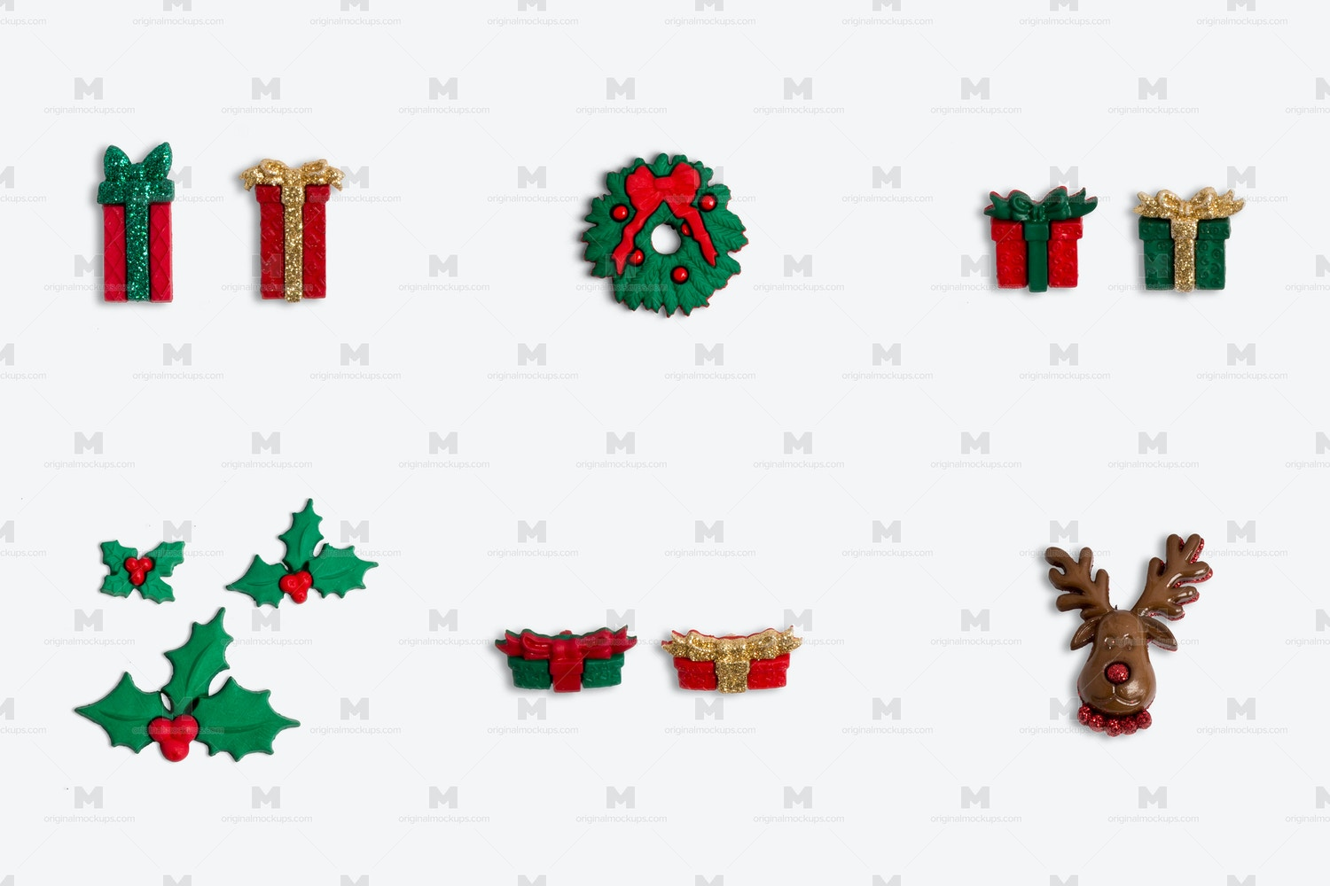 Christmas Buttons Isolate 02