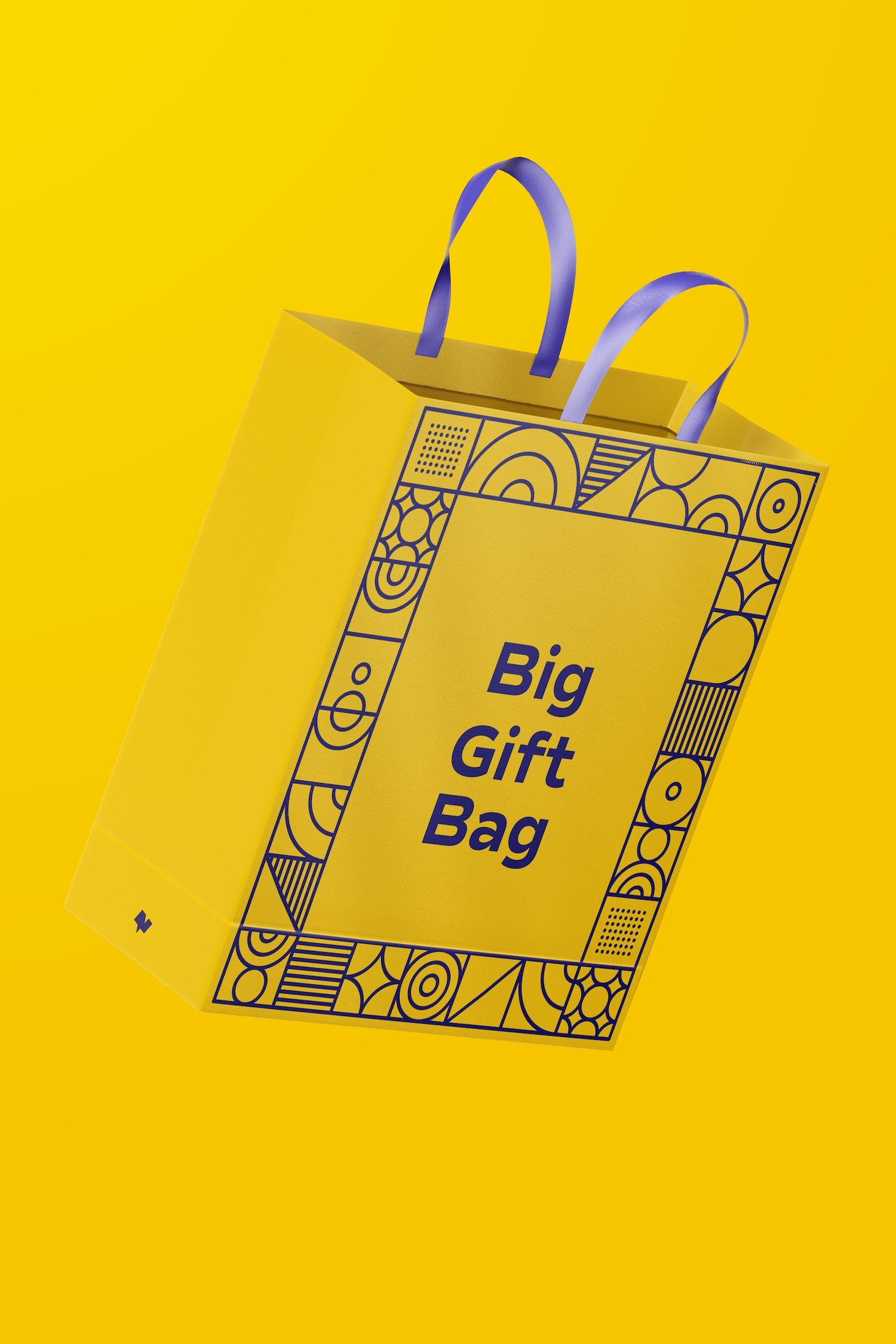 Big Gift Bag With Ribbon Handle Mockup, Falling