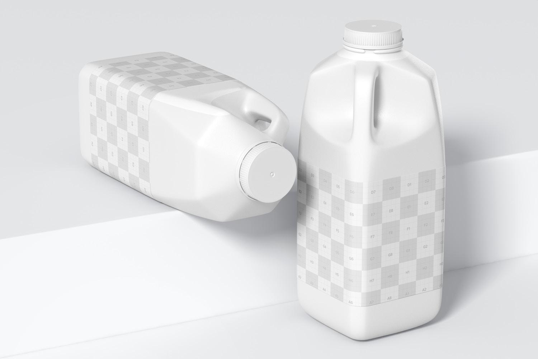 64 oz Milk Bottles Mockup, Perspective View