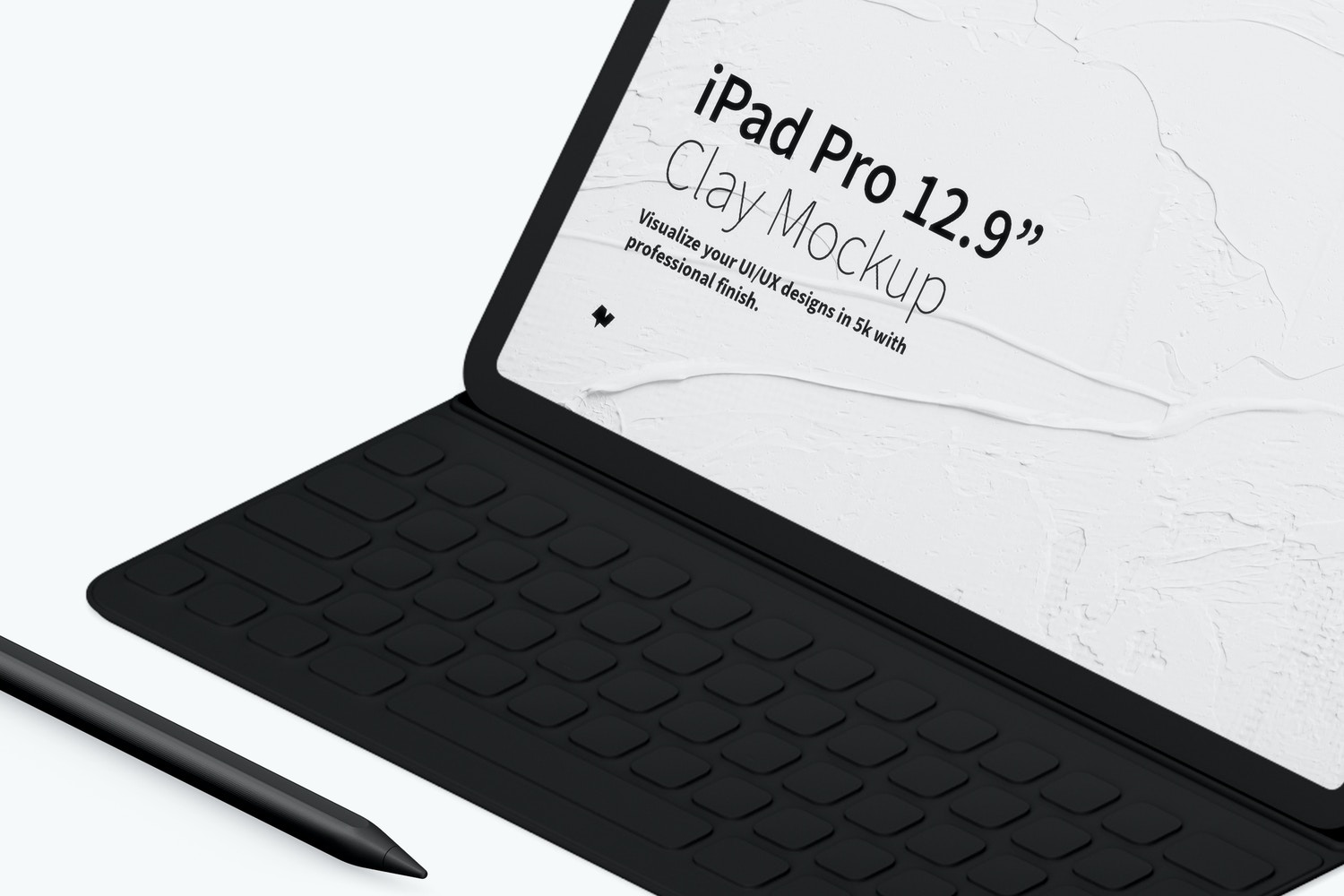 """Clay iPad Pro 12.9"""" Mockup, Isometric Right View With Keyboard"""