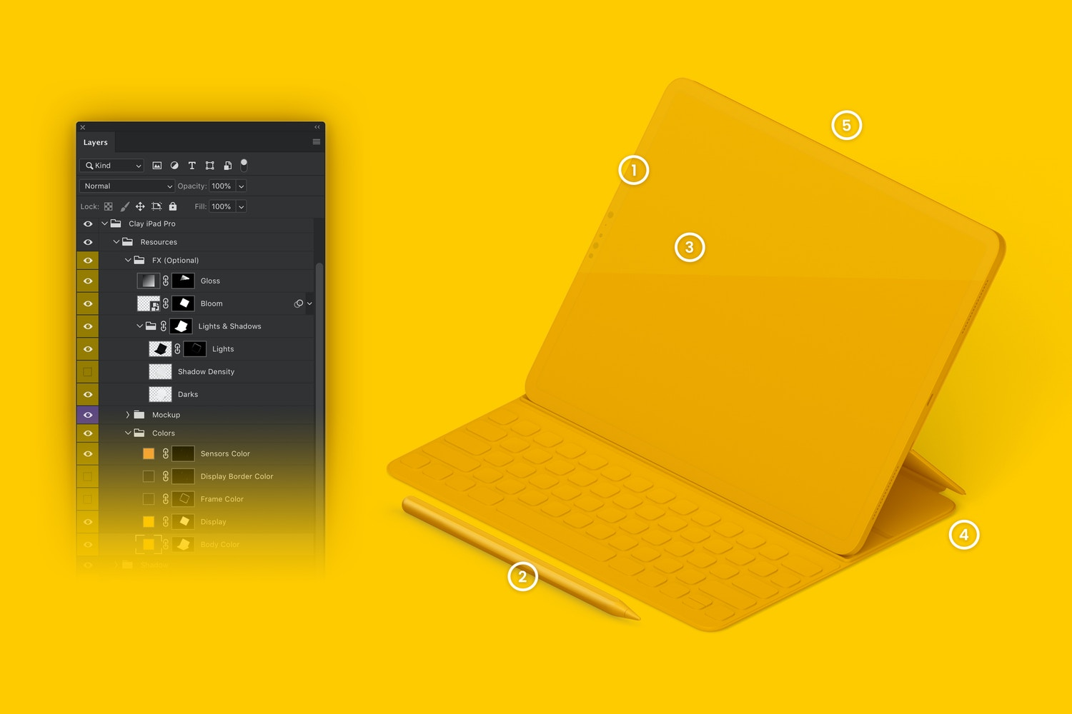 "Clay iPad Pro 12.9"" Mockup, Isometric Right View With Keyboard (6) by Original Mockups on Original Mockups"