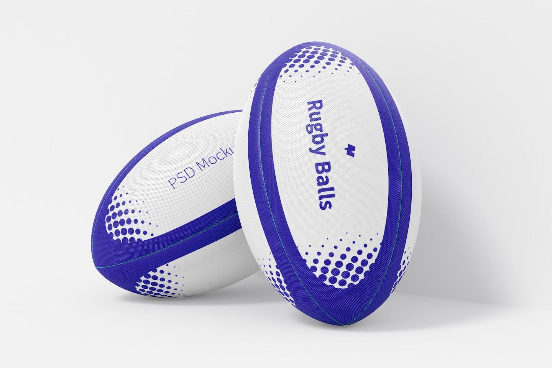 Rugby Balls Mockup, Leaned