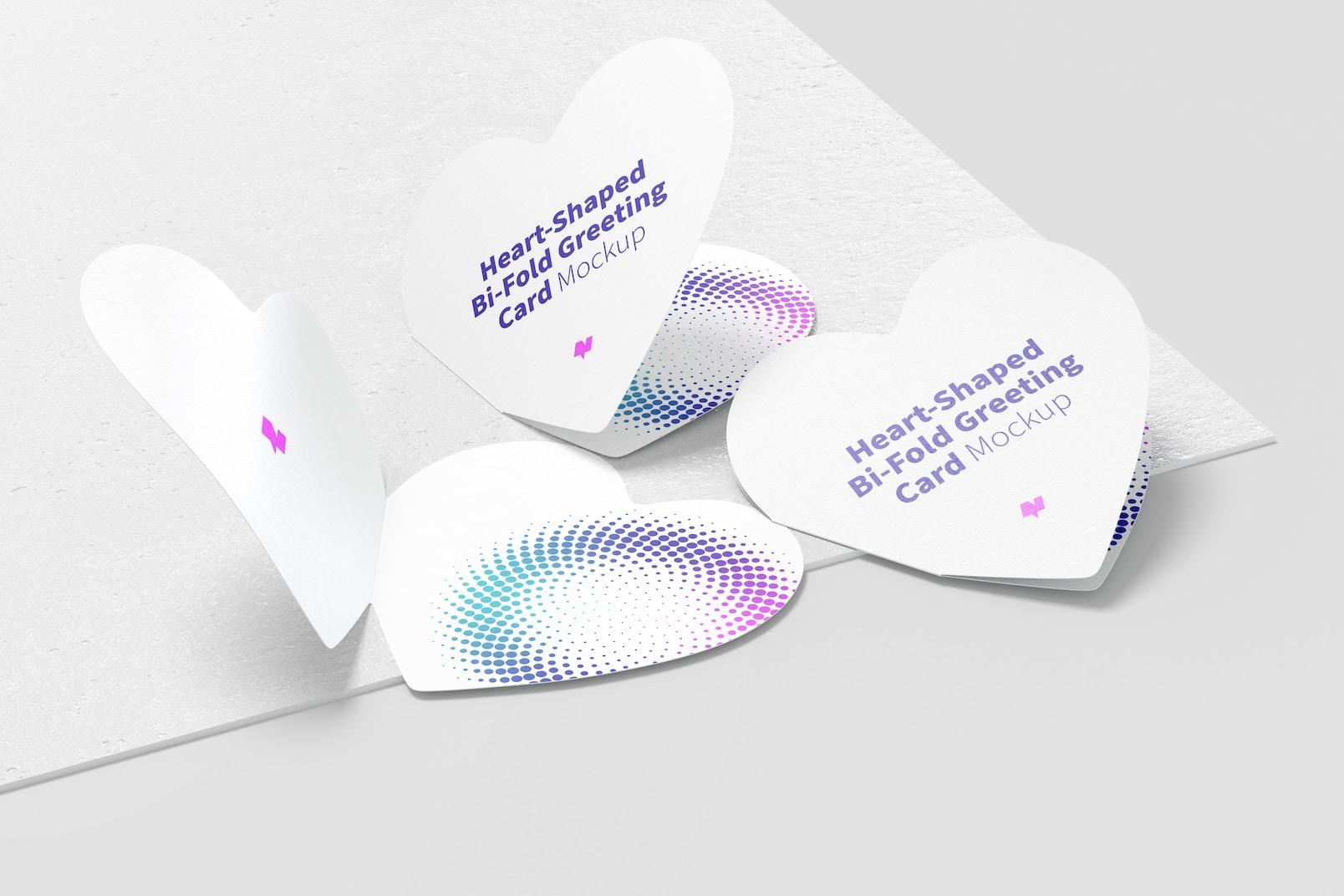 Heart-Shaped Bi-Fold Greeting Cards Mockup