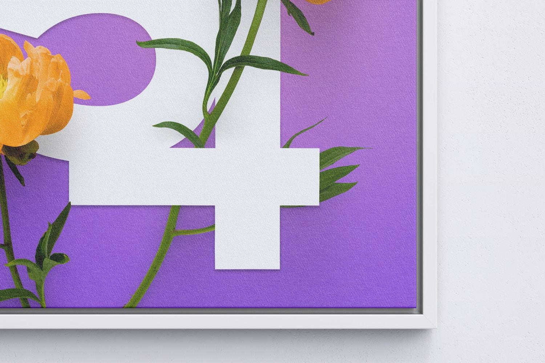 5:4 Landscape Canvas Mockup in Floater Frame, Front View