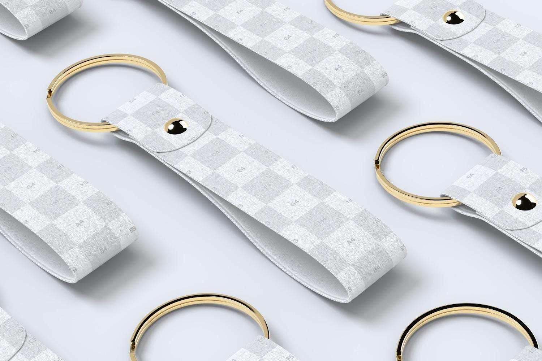 Leather Wristlet Keychains Set Mockup