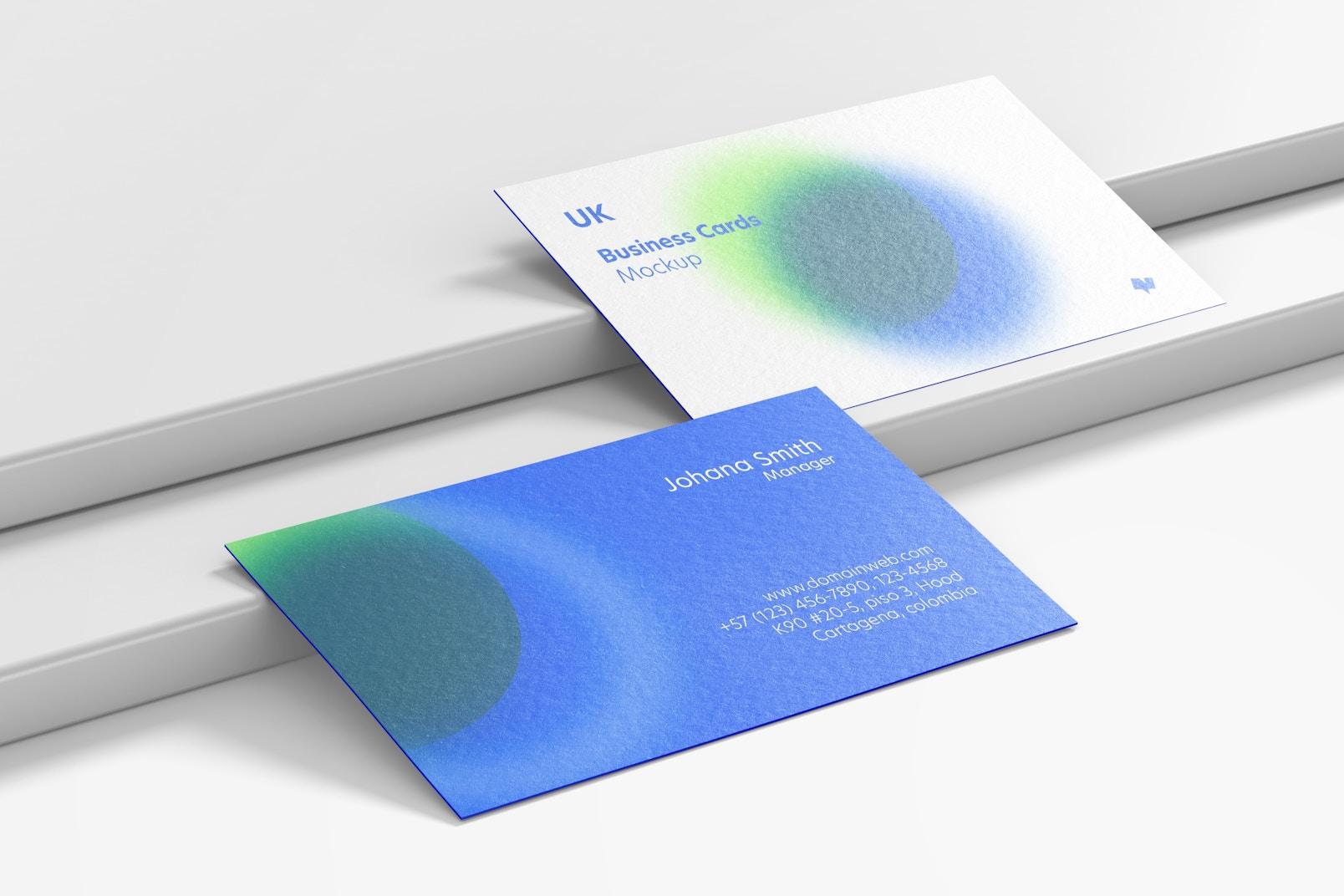 UK Landscape Business Cards Set Mockup
