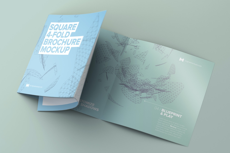 Unfolding Square 4-Fold Brochure Mockup - Custom Background