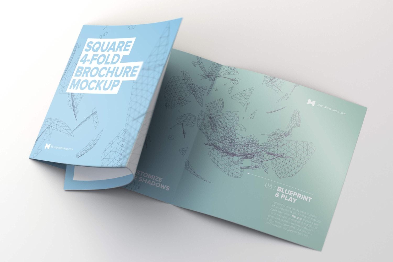 Unfolding Square 4-Fold Brochure Mockup