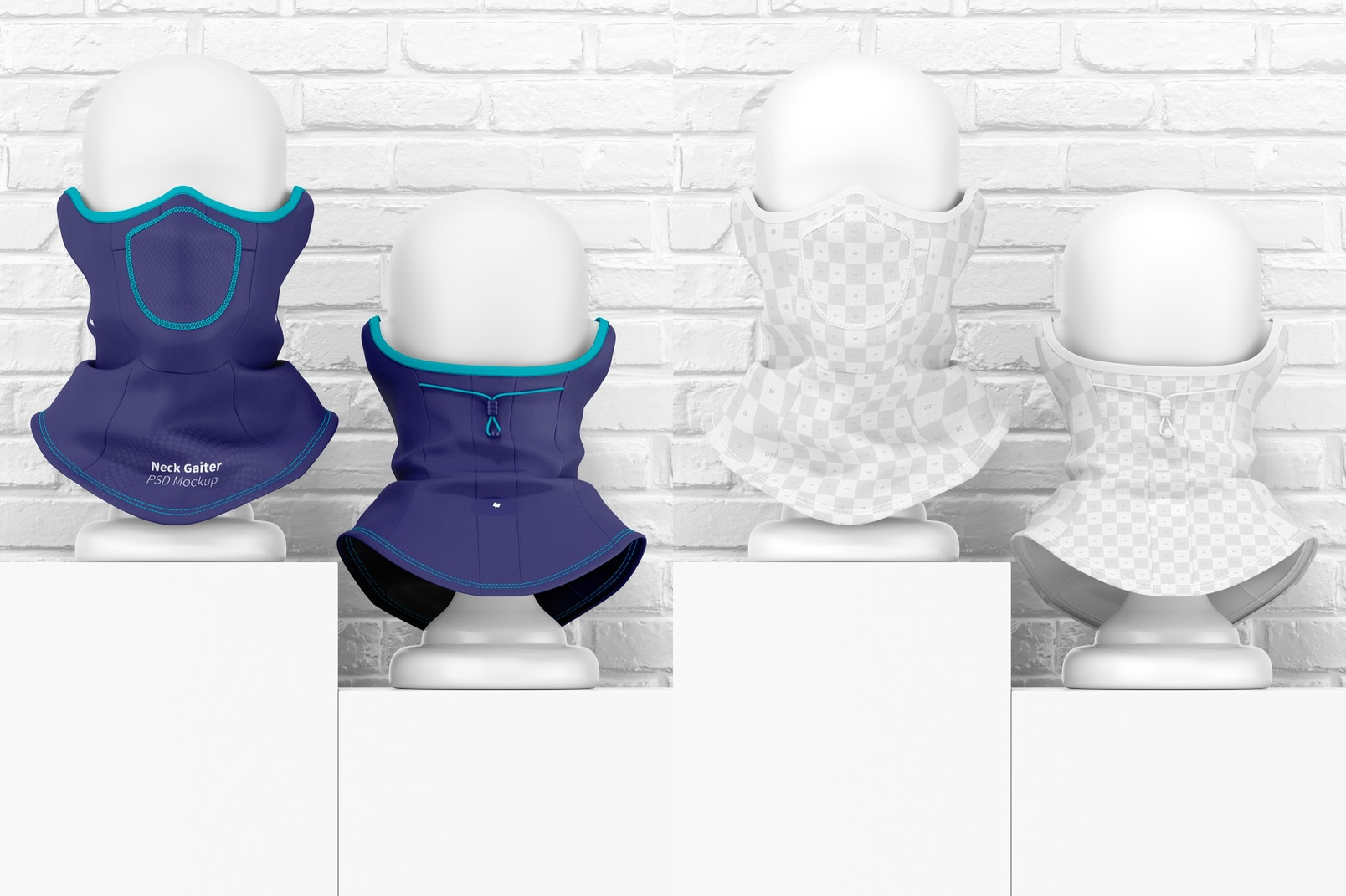 Neck Gaiters Mockup, Front and Back View