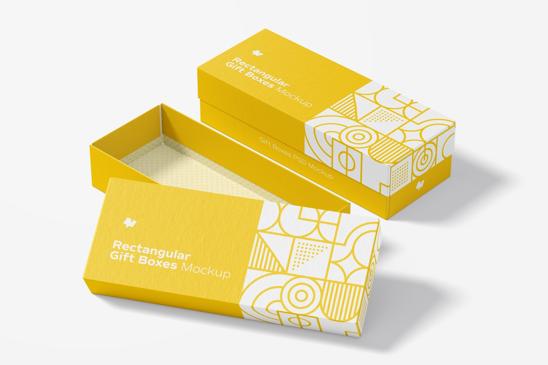 Rectangular Gift Boxes Mockup