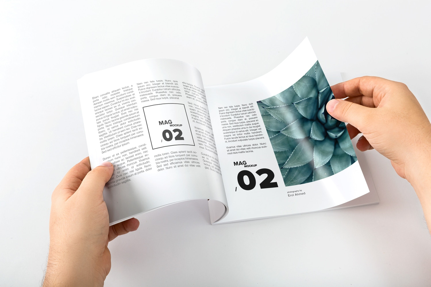 Square Magazine Opening Mockup by Original Mockups on Original Mockups