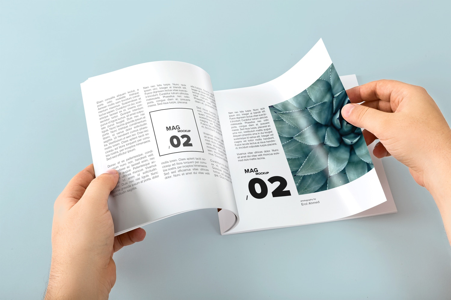 Square Magazine Opening Mockup - Custom Background